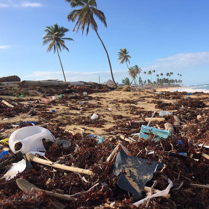 Dechets plastique sur une plage