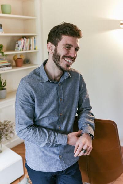 Chemise chambray homme en coton recyclé Léon