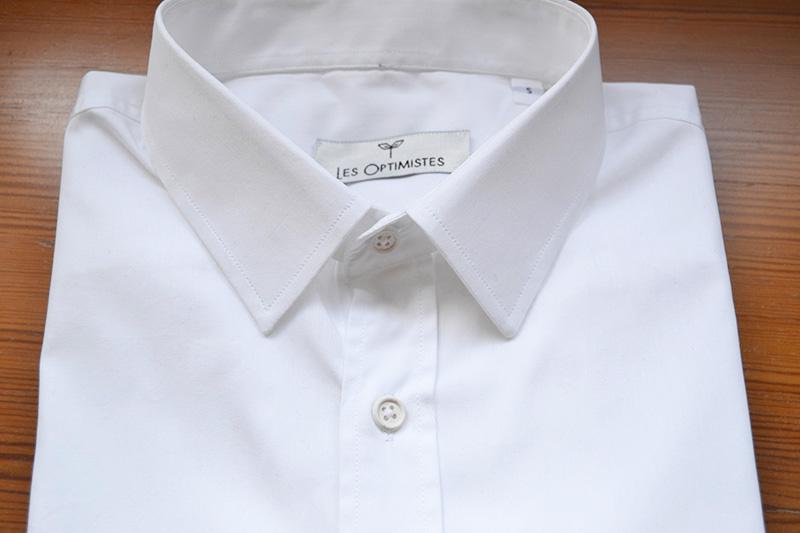 col français chemise en popeline coton bio blanche