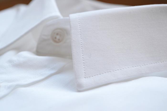 zoom couture chemise blanche haut de gamme popeline coton bio