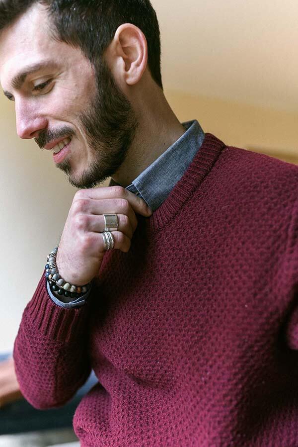 Chemise chambray homme avec pull